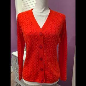 Talbots bright red cable cardigan Medium Petite